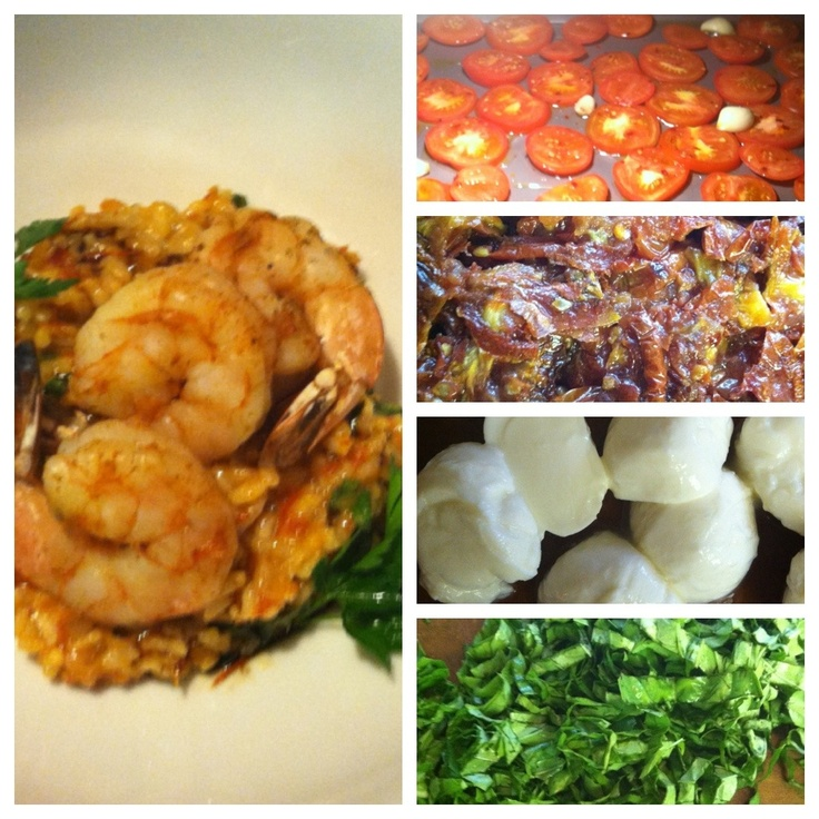 Roasted Tomato, Mozzarella, and Basil Risotto with Grilled Shrimp from ...