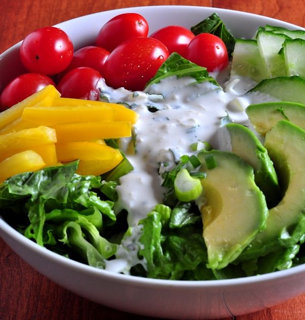 Bowl of Salad with Creamy Feta Cheese Salad Dressing on The Creekside ...