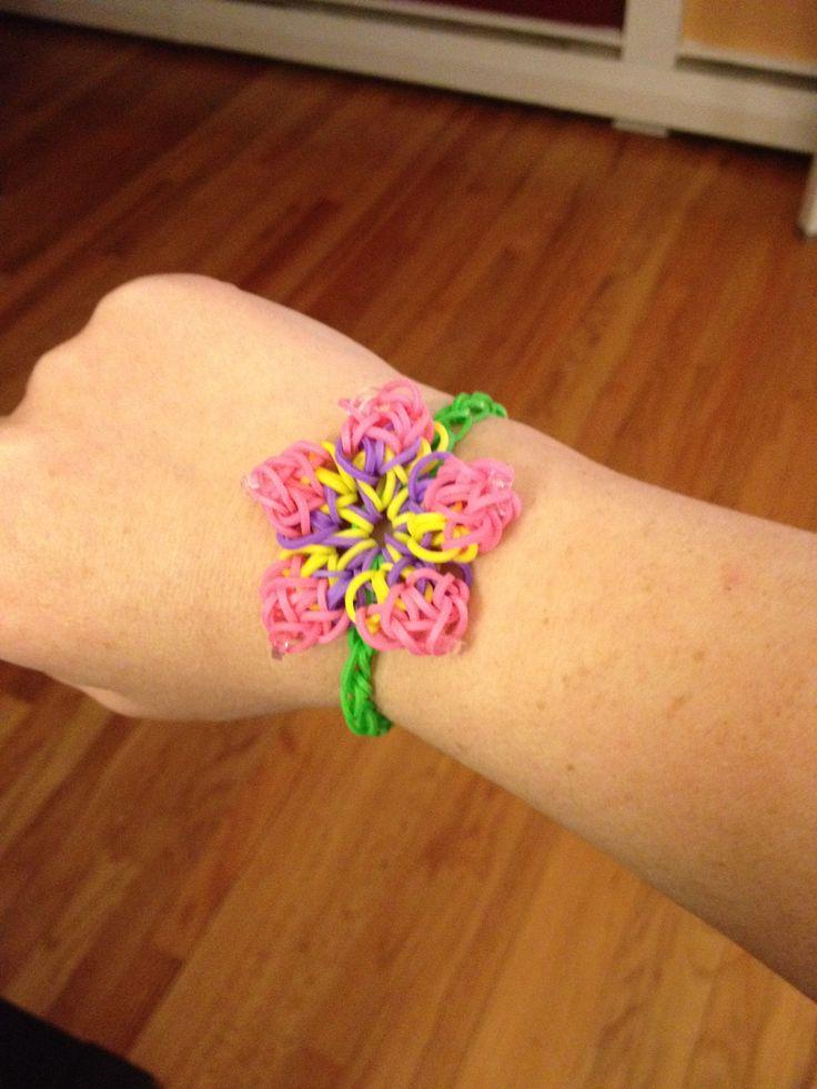 hibiscus flower rainbow loom bracelet see more at facebook