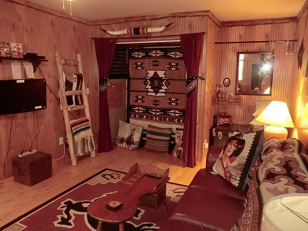 Living Room Of The Cowboy Cottage How Cute I Think The Big Blan