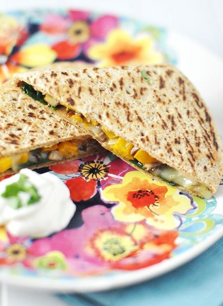 Roasted Butternut Squash Quesadillas with Spinach (or Kale ...
