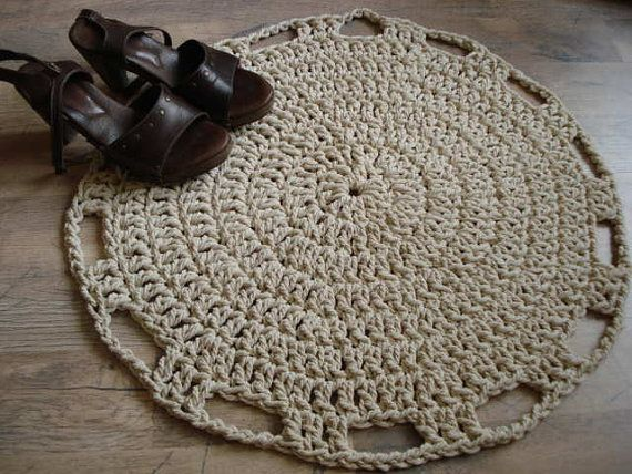 Crochet Rope Rug Round 100 Cotton by ELITAI on Etsy