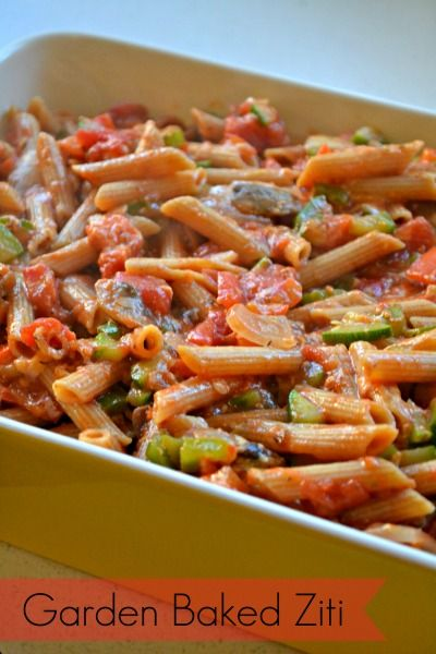 Garden vegetable baked ziti, just add cheese and bake to golden ...