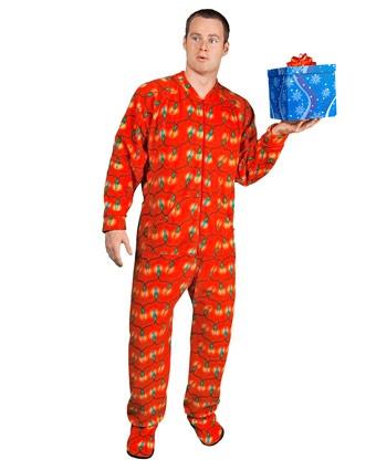 Christmas Lights Footed Pajamas | Adult Fleece Footed Pajamas | Pinte ...