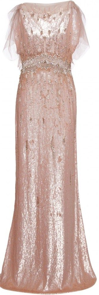 The stunning Jenny Packham peach and crystal embellished gown