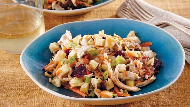 This hearty wild rice salad with chicken, cranberries, apple and ...