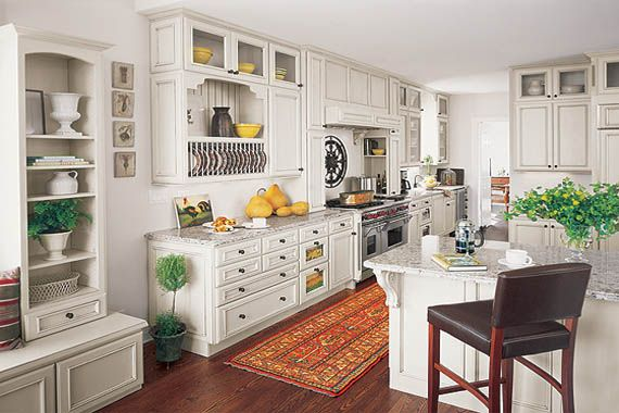 White French Country Kitchen cabinets, grey granite, dark wood floor