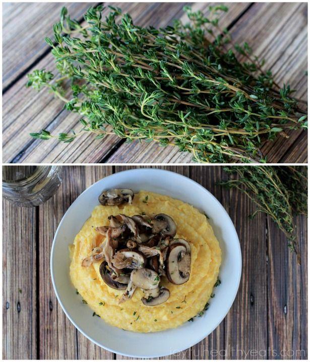 Parmesan Polenta with Lemon Thyme Wild Mushrooms | Vegetarian Recipes