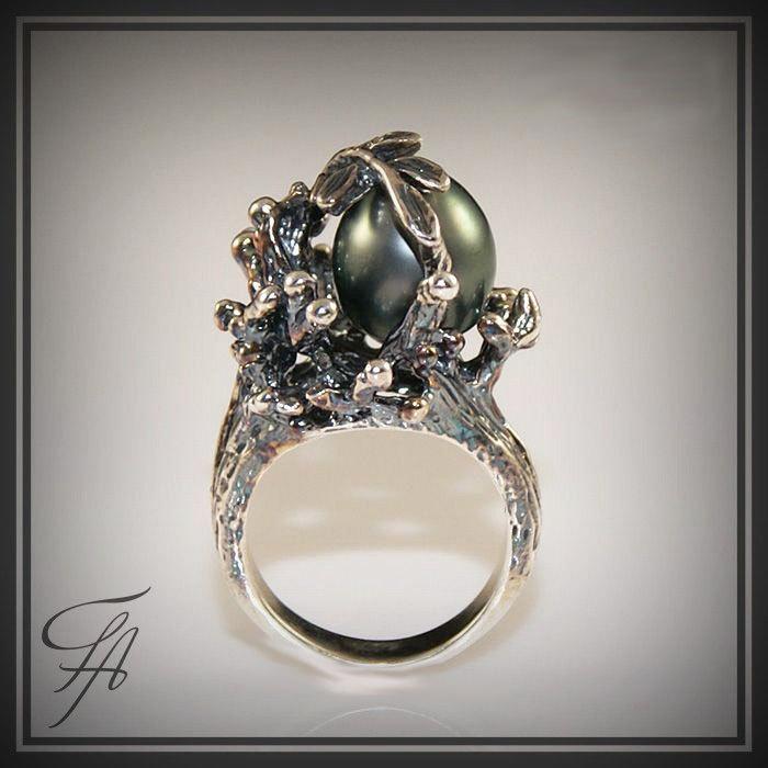 black tahitian pearl ring in sterling silver handmade