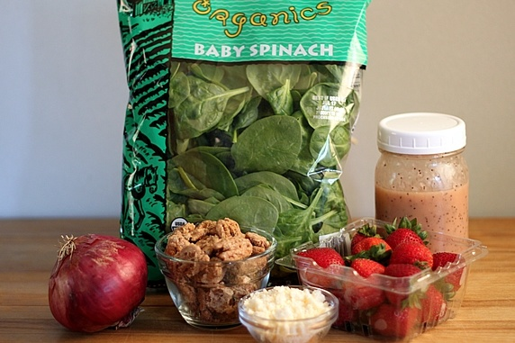Spinach Strawberry Salad with Candied Pecans, Feta, & Raspberry ...