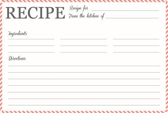 Recipe Card | Blank Recipe Card Printable | Stripes | Gift