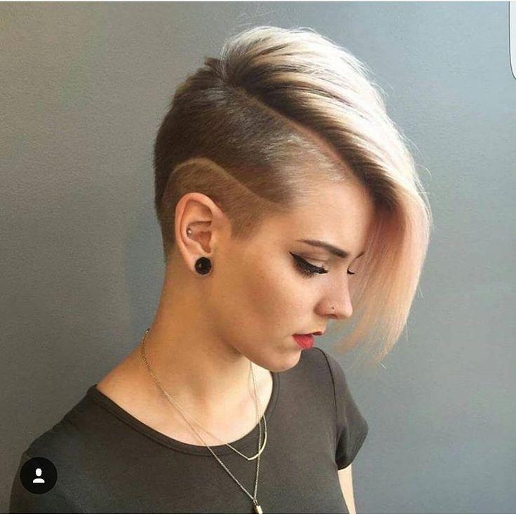 Стрижка с выбритым виском короткие волосы