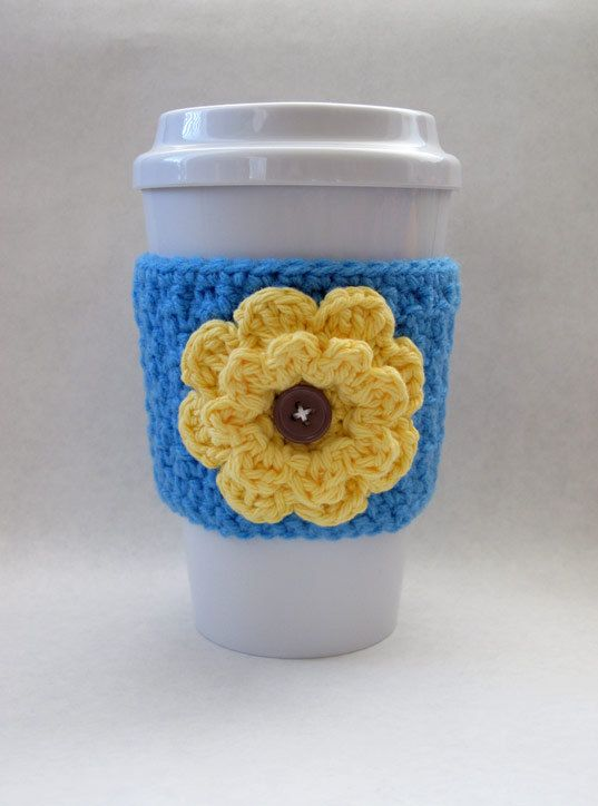Crochet coffee cup cozy blue and yellow | Crochet | Pinterest