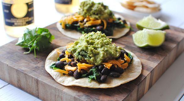 Easy Spinach, Black Bean and Guacamole Tostadas | Recipe