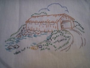 Hand embroidered dresser scarf country bridge table runner vintage pattern used is a workbasket