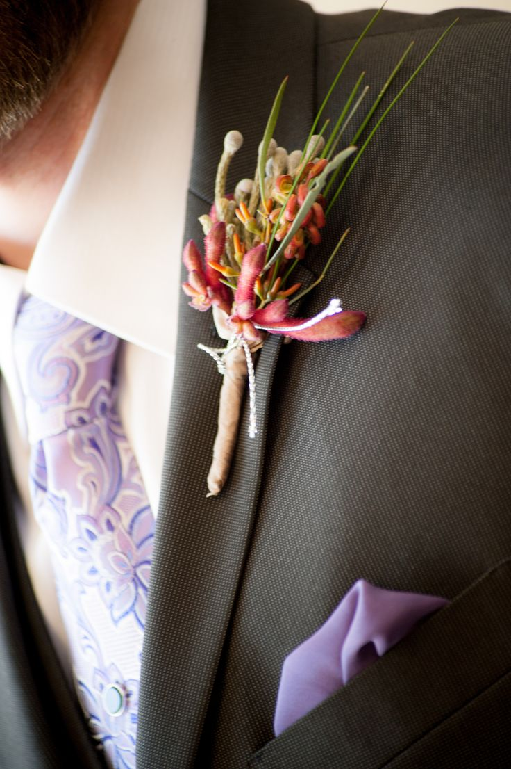 Kangaroo paw boutonniere by Mikelle Hickman-Romine