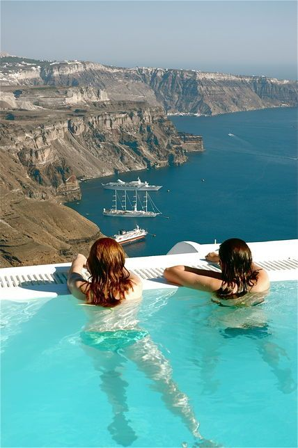 majestic pool view, Santorini, Greece