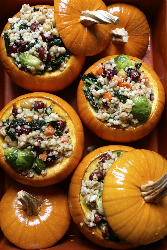 Stuffed Pumpkin with cous cous, quinoa, cranberries &