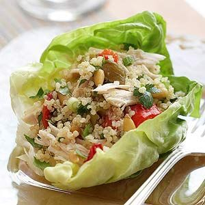 Chicken and quinoa salad, with cilantro, lime, and pine nuts/almonds