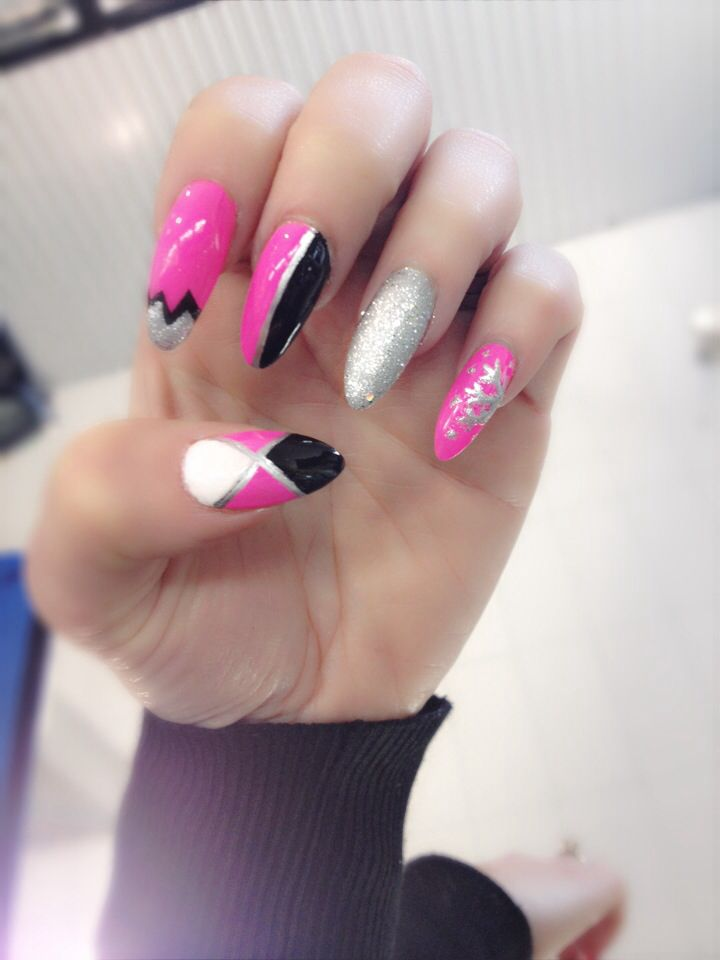 Black and silver pointy nails