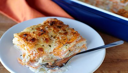 Sweet Potato Gratin with Caramelized Onion and Parmesan Cheese