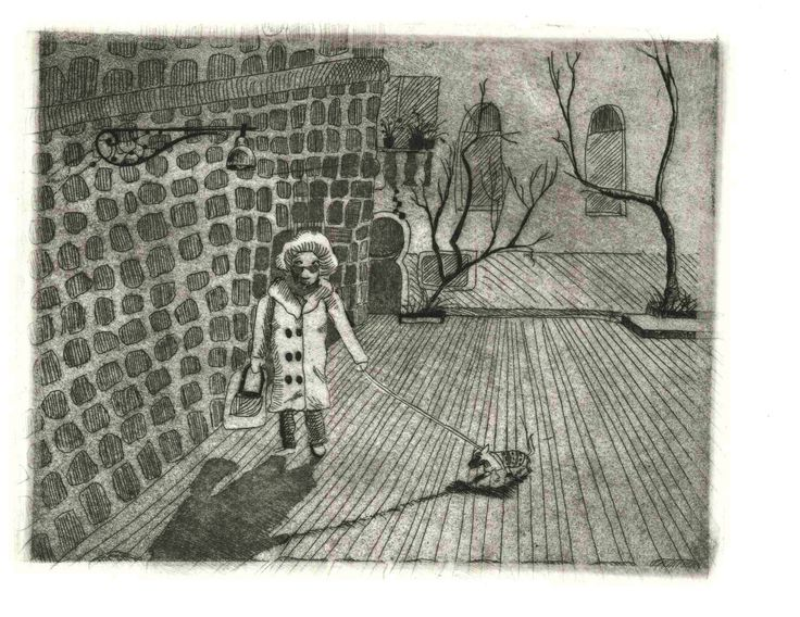Lady next Door 2. Part of a set. Edition print. etching and Aquatint.