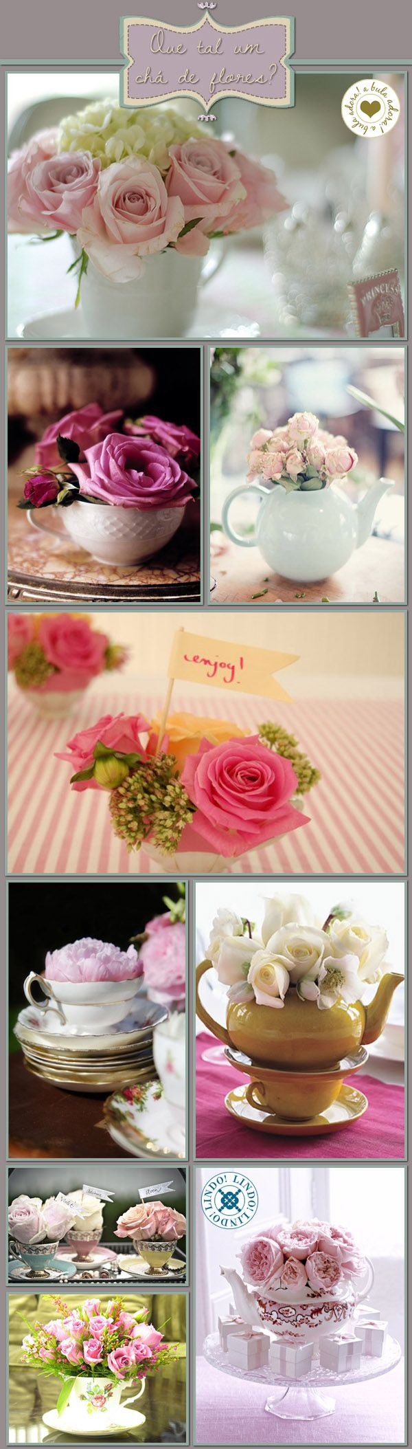 teapots and cups filled with flowers