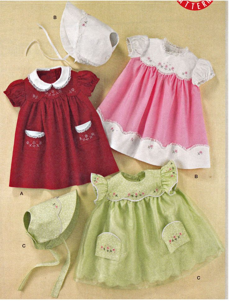SEWING PATTERN Vintage 50 s Style Baby Dresses Bonnet Girl