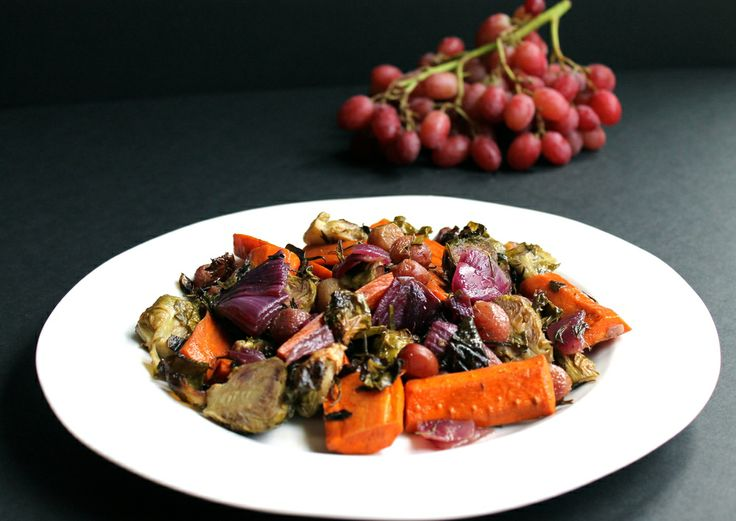 Roasted fall veggies: brussel sprouts, carrots, onions, red grapes and ...
