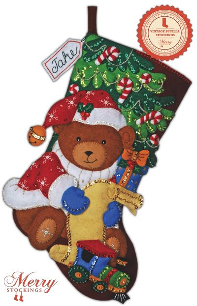 "Available March 1st, 2013 via MerryStockings Vintage line of Bucilla Christmas stocking kits. Kit is entitled ""Santa Bear""."