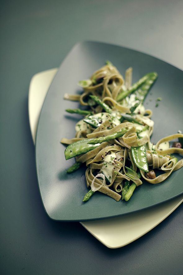 Spring Green- Pasta with steamed green Vegetables, Cream Cheese sauce ...