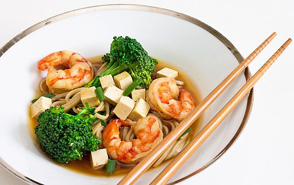 Soba Noodle Miso Soup w Broccoli, Shrimp and Tofu http://www ...