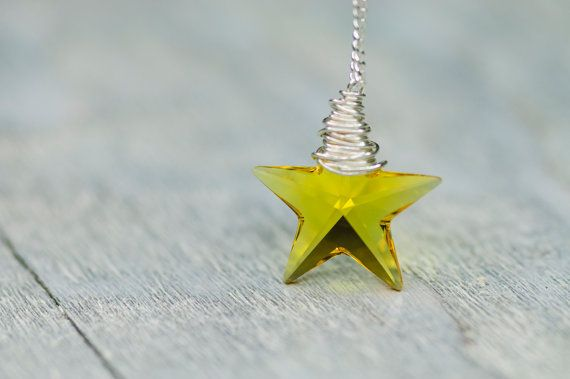 Crystal Star Necklace 20mm Small Yellow Star by DevikaBox on Etsy, $25.00 #crystal #star #necklace #fashion #jewelry #yellow #gift #swarovski #winter