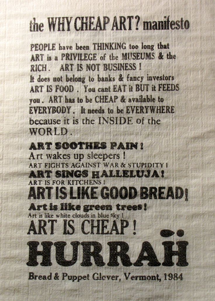 The Cheap Art Manifesto  Bread & Puppet : Cheap Art & Political Theatre in Vermont