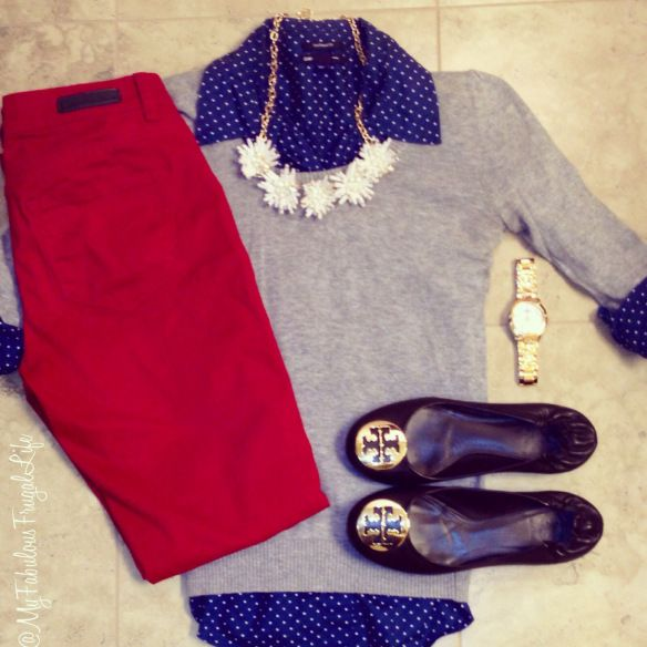outfit layout \ ootd \ red jeans \ polka dots \ tory burch reva flats \ classic \ preppy \ teacher clothes