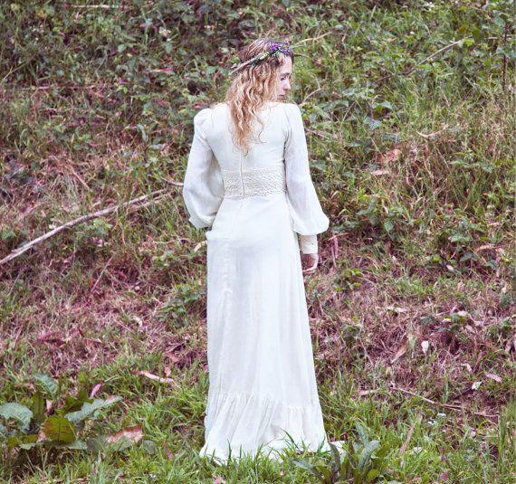 Crocheted, Hippie, Vintage Wedding Dress, 1970s, Long Sleeves, Gunne ...