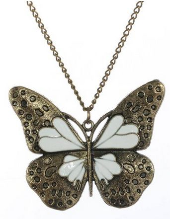$3 shipped FREE White Butterfly Neckalce WOMENS BRONZE BUTTERFLY PENDANT NECKLACES ~ SPRING FASHION
