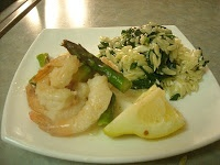... shrimp amp asparagus in lemon garlic sauce w spinach amp feta orzo
