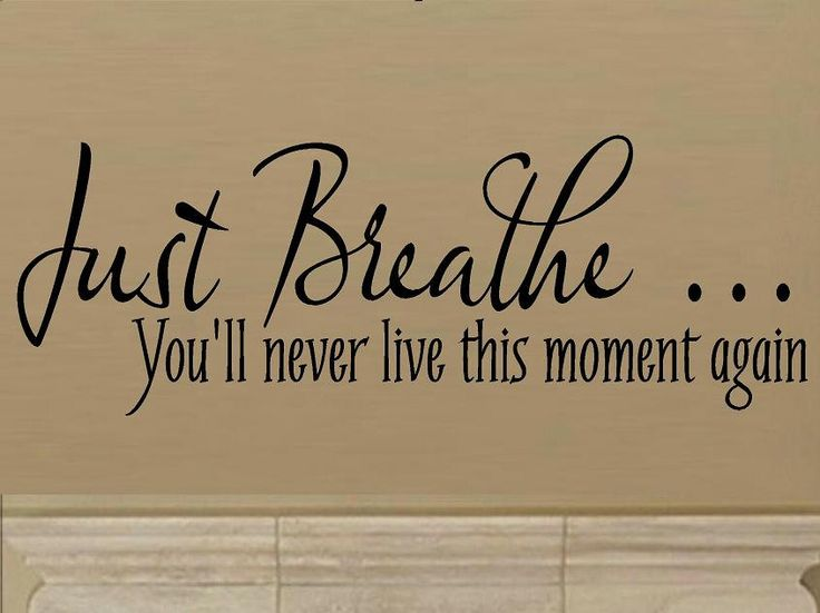 vinyl wall decal quote Just breathe... you'll never live this moment again. $9.95, via Etsy.