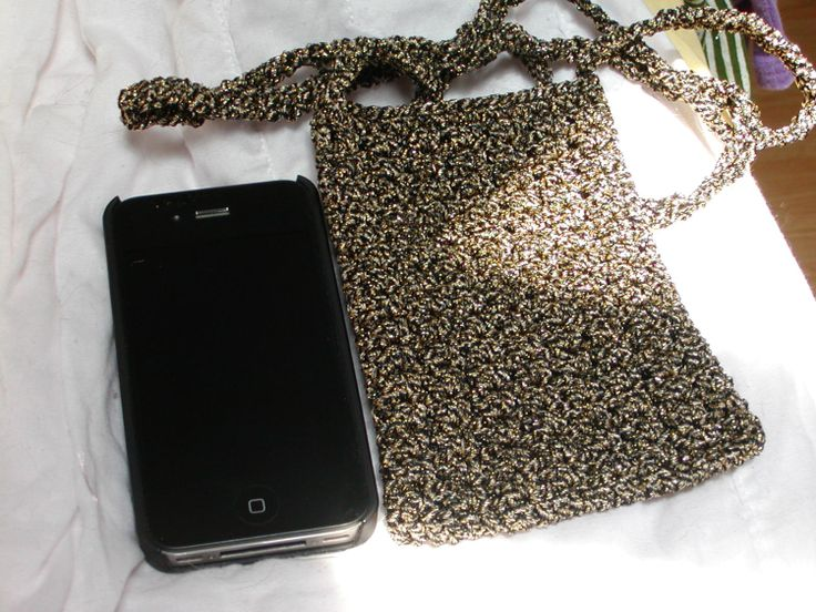 Crochet Cell Phone Purse : black and gold metallic crochet cell phone purse small bag
