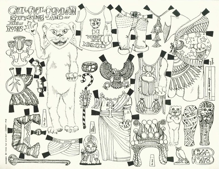egyptian cat paper doll coloring page paper dolls pinterest. Black Bedroom Furniture Sets. Home Design Ideas