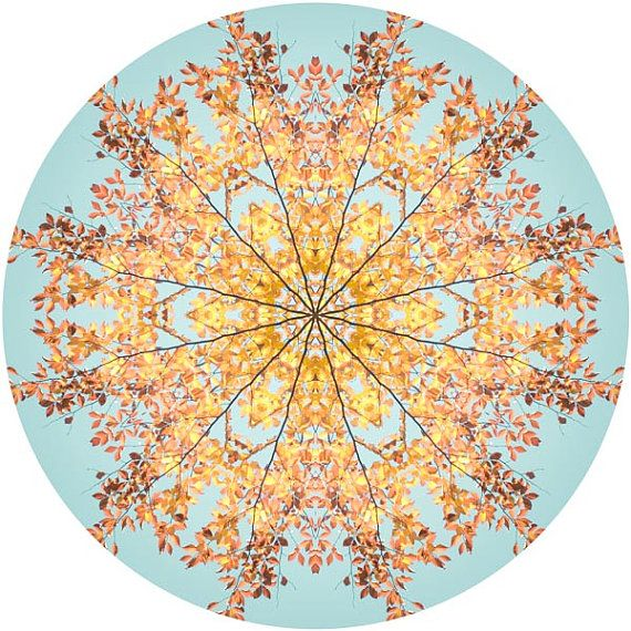 Large Mandala Wall Art Abstract Art Aqua Orange Yellow