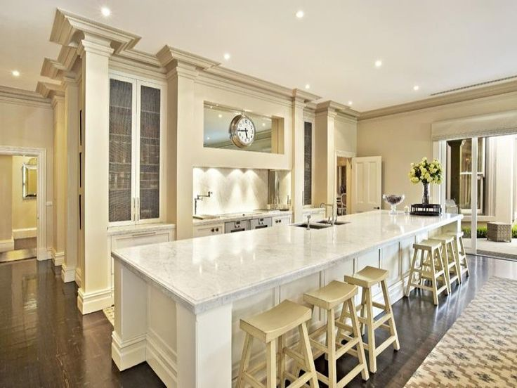 Long kitchen island cuisina pinterest for Kitchen designs long island