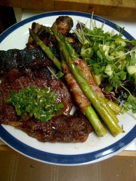 steak, ribs, and bacon wrapped asparagus!!! My friend made this :D