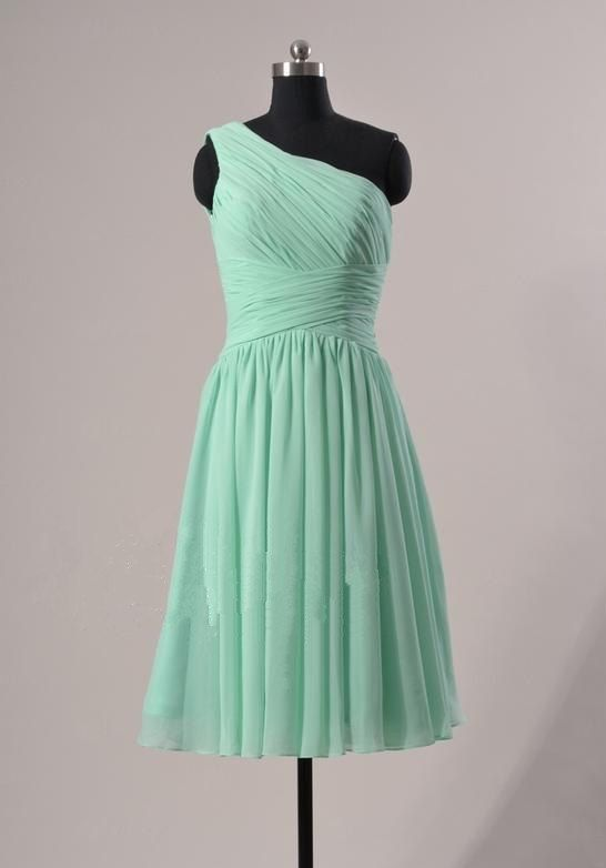 Mint green prom dresses chiffon one shoulder short mint for Mint color wedding dress