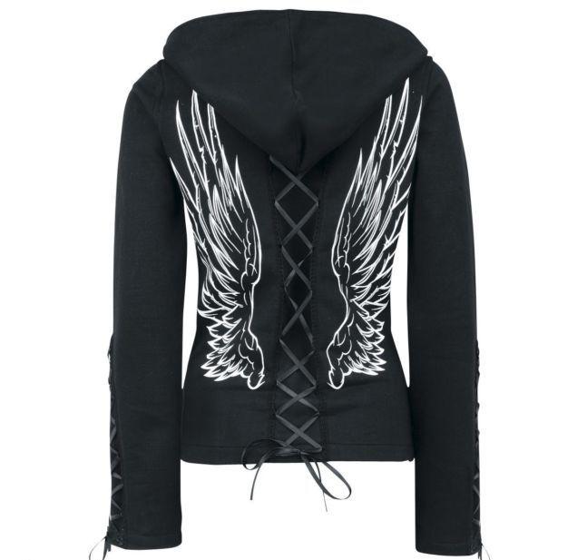 Goth Angel Wings Hoodie - Hoodies rebelsmarket.com