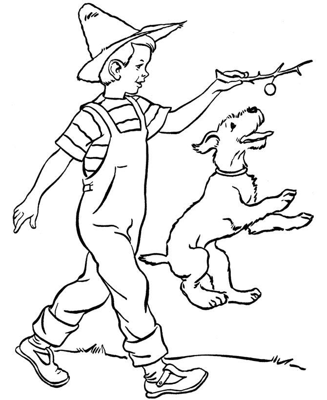 how to draw a boy walking a dog