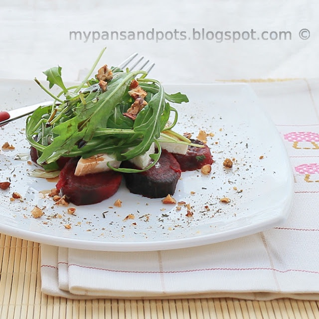 Fit and Yummy: Roasted beet,arugula and goat cheese salad with pecans ...