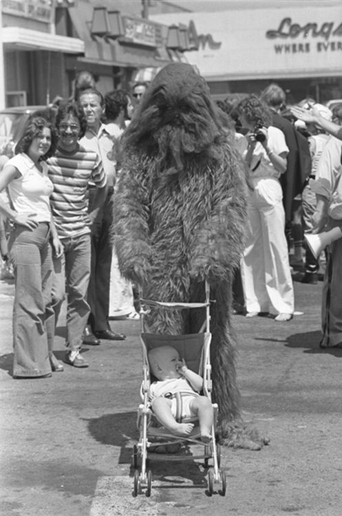 old school | big foot | pram | hairy monster | contrast | dress up | fun | chewy | chew backer | star wars | the force | vintage | quirky | silly | dad joke | 1970's fashion