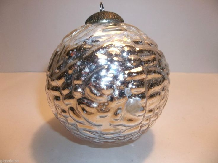Vintage mercury glass kugel christmas tree ornament silver Vintage glass christmas tree ornaments
